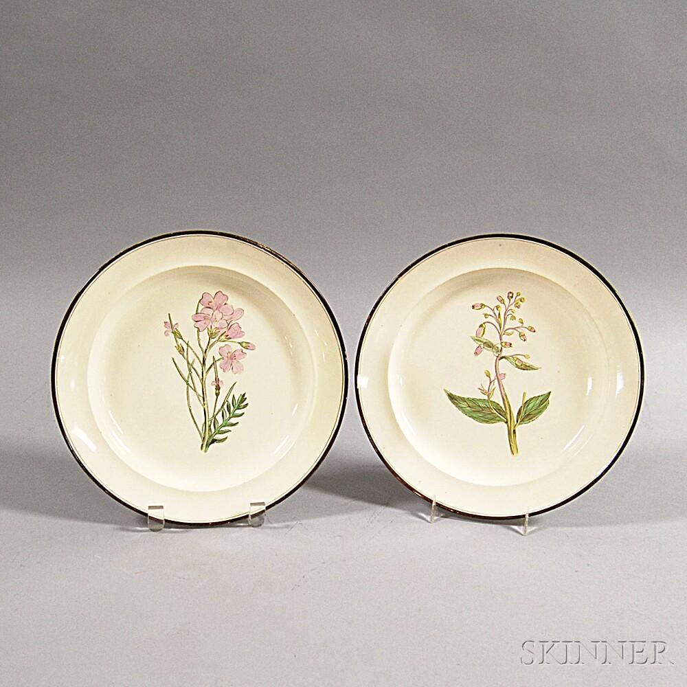 Two Creamware Botanical Transfer-decorated Plates