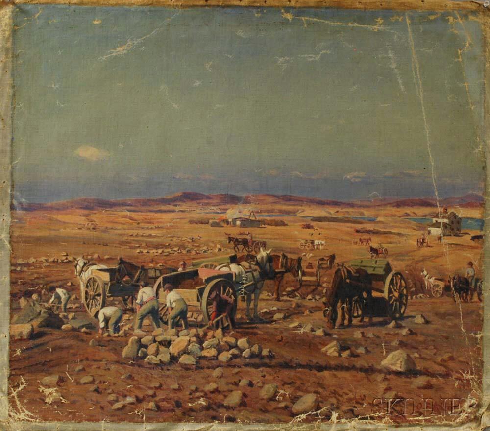 Oscar F. Adler (Massachusetts, 1868-1932)       Desert Scene with Miners.