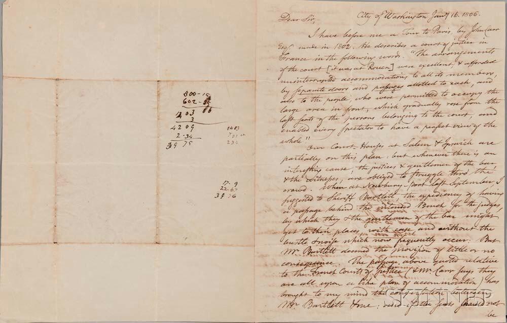 Pickering, Timothy (1745-1829) Autograph Letter Signed, Washington, D.C., 16 January 1806.