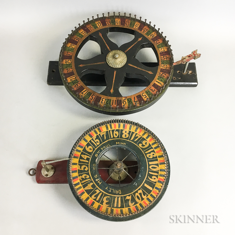 Two Polychrome Wood Wall-mounted Wheels of Chance