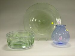 Blown Colored Glass Bottle, Bowl, Etched Flip, Deep Olive Bottle and a Platter.