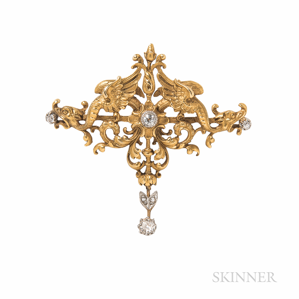 Art Nouveau 18kt Gold and Diamond Pendant/Brooch