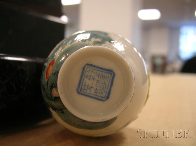 Japanese Export Painted Eggshell Porcelain Miniature Bud Vase