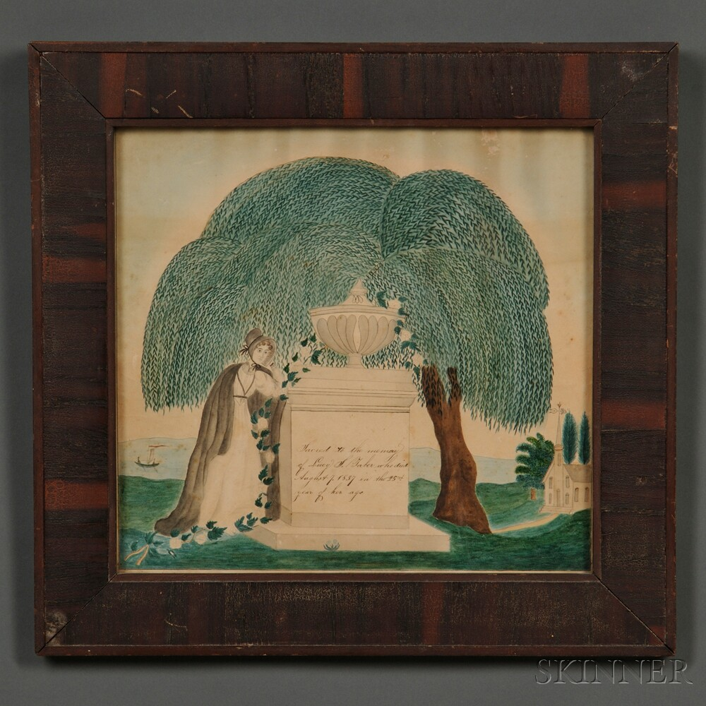 Framed Watercolor Memorial Picture Sale Number 2680b