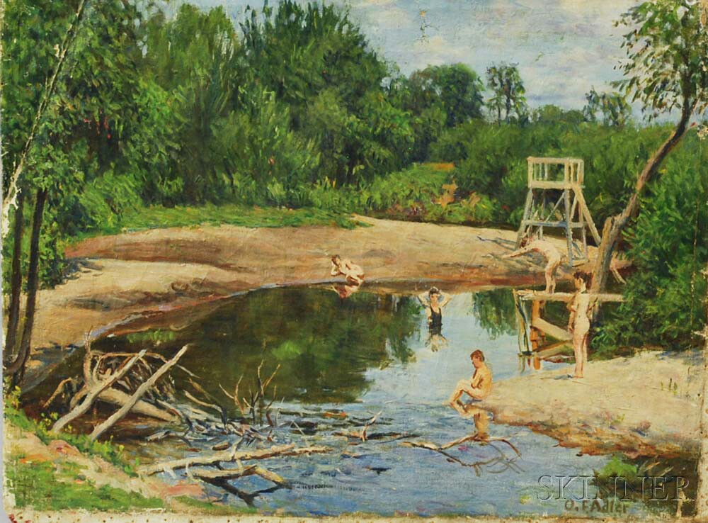 Oscar F. Adler (Massachusetts, 1868-1932)       River View with Swimmers.