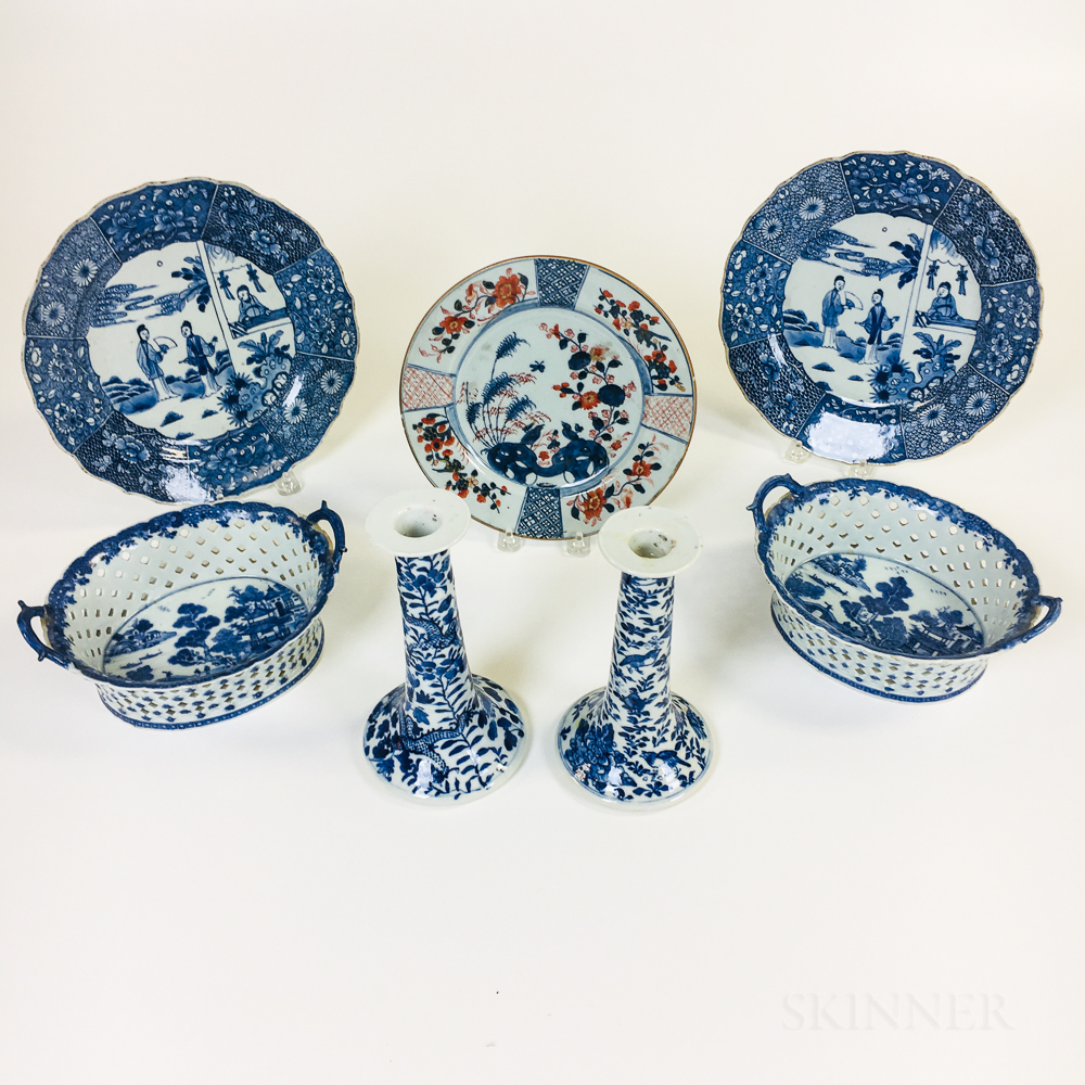 Seven Chinese Mostly Blue and White Porcelain Items