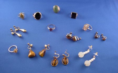 Seven 10kt Gold Rings and Six Pairs of Gold-filled Earrings