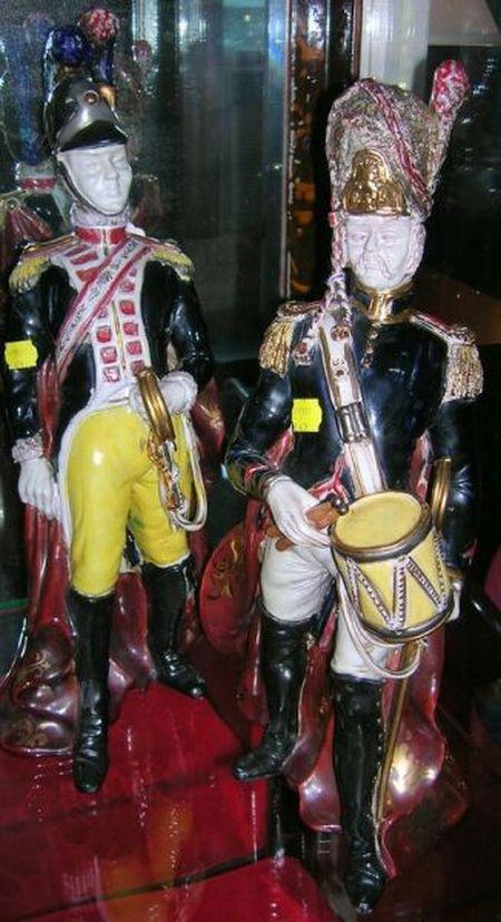 Pair of Italian Hand-painted Porcelain European Military Figures