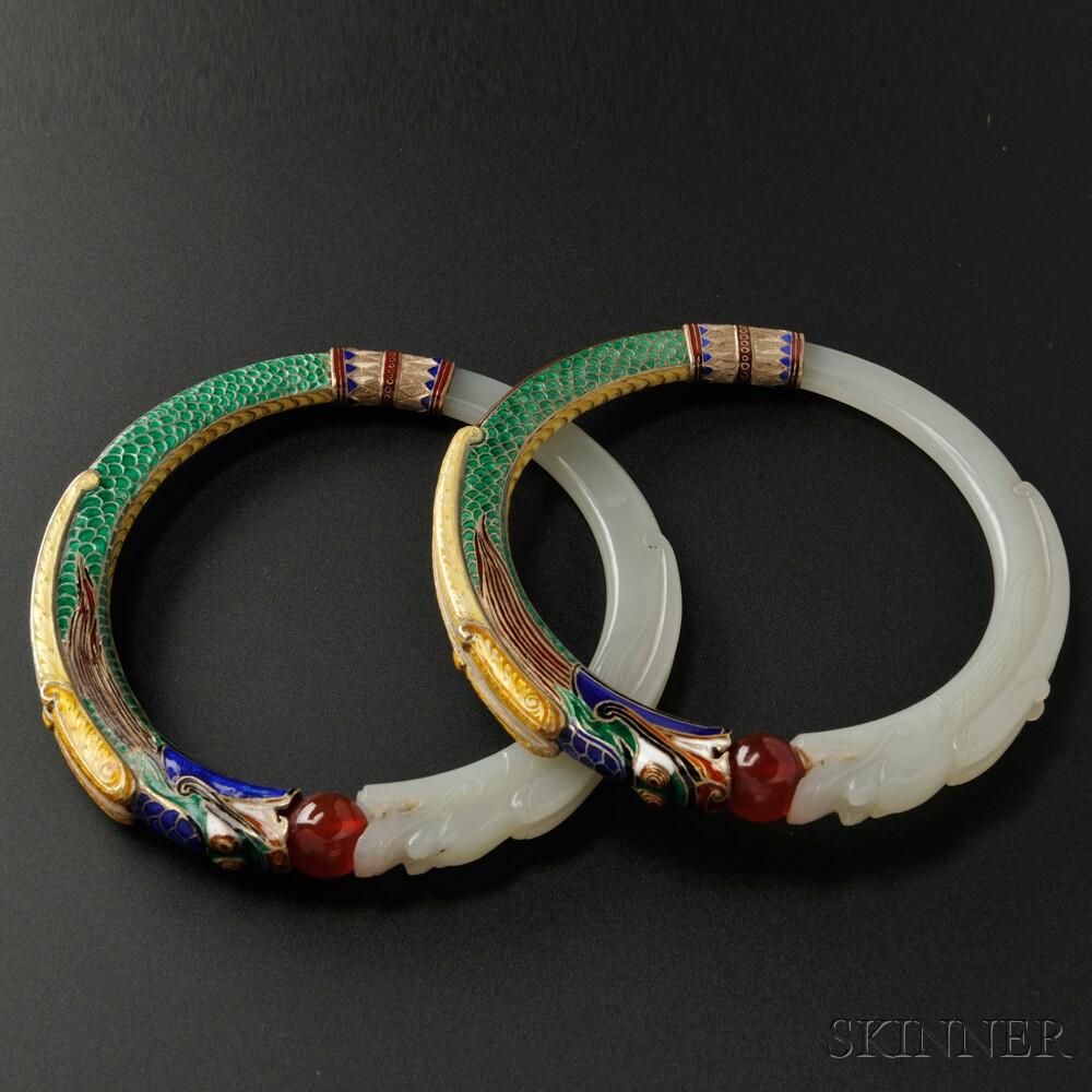 Rare Pair of Jade and Enamel Bangles, Marie Zimmermann