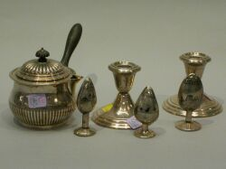 Three Middle Eastern Niello Silver Spice Shakers, Pair of Gorham Sterling Candleholders and a Silver Plated Chocolate Pot.