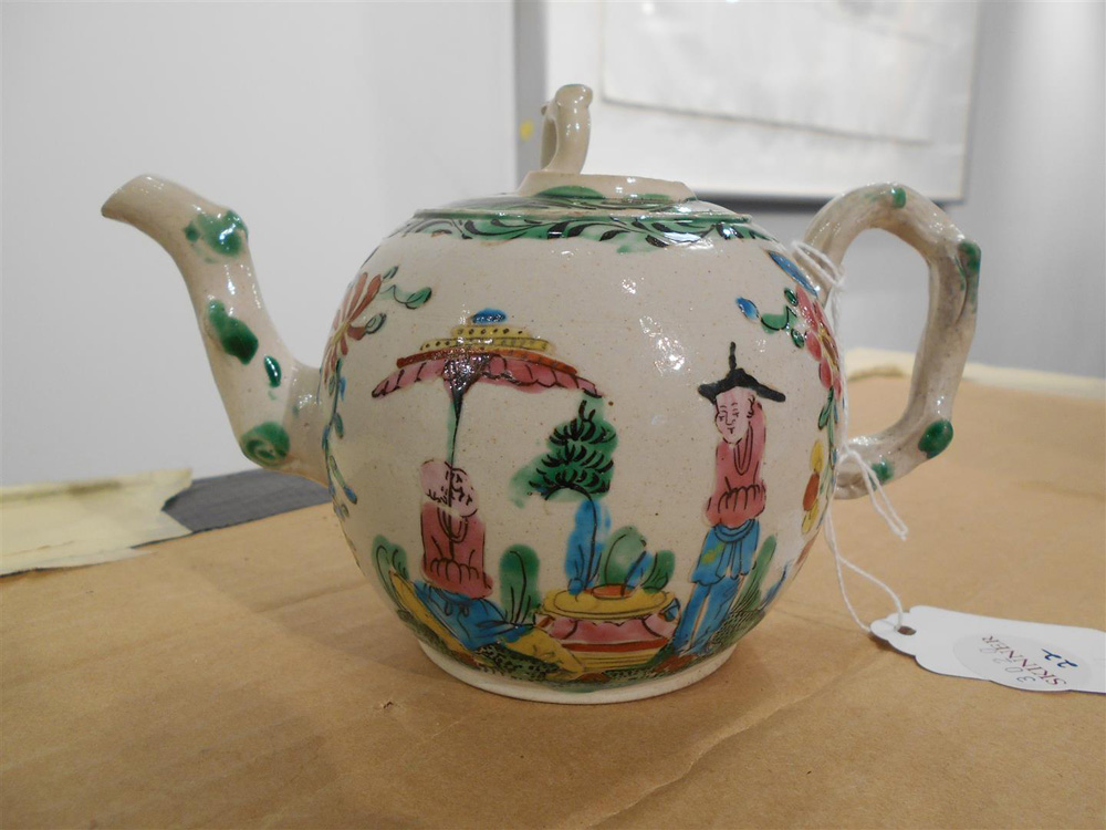Staffordshire Salt-glazed Stoneware Chinoiserie Decorated Teapot and Cover
