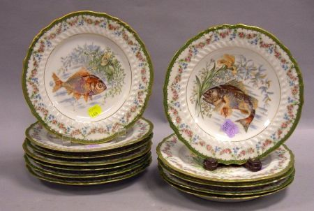 Set of Twelve Austrian Fish Transfer Decorated Porcelain Plates.