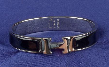 Stainless Steel and Enamel Bangle Bracelet, Hermes