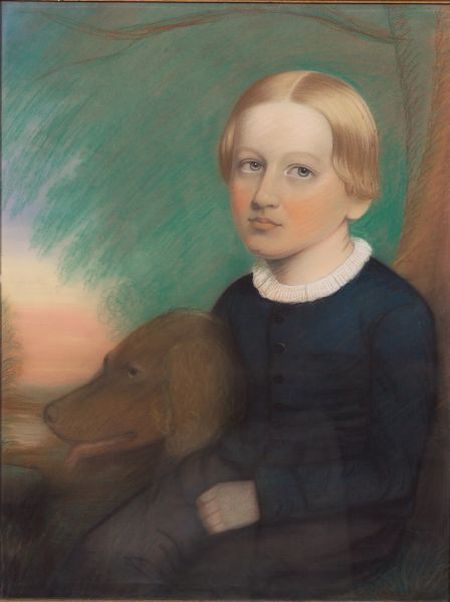 American School, 19th Century    Portrait of George S. Bower and His Dog, circa 1850