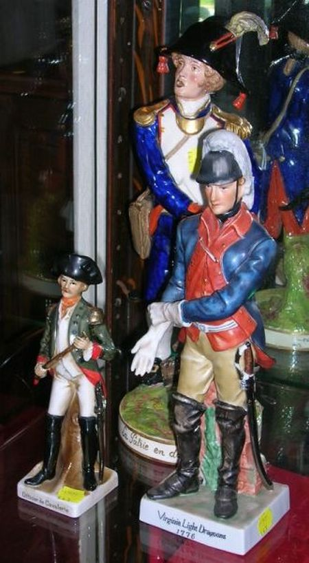 Three Hand-painted Porcelain Military Figures