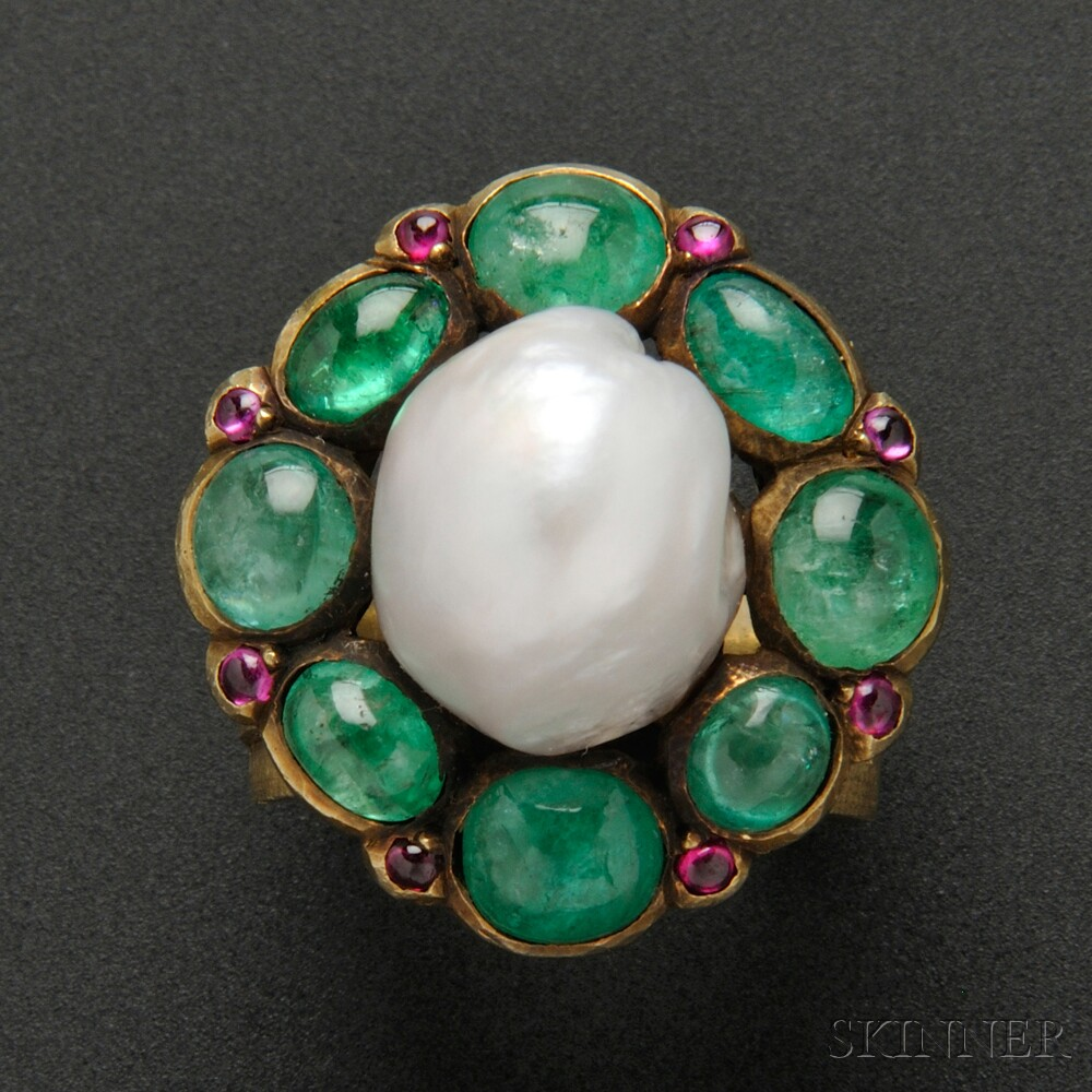 Rare gold baroque pearl emerald and pink sapphire ring for The jewelry and metalwork of marie zimmermann