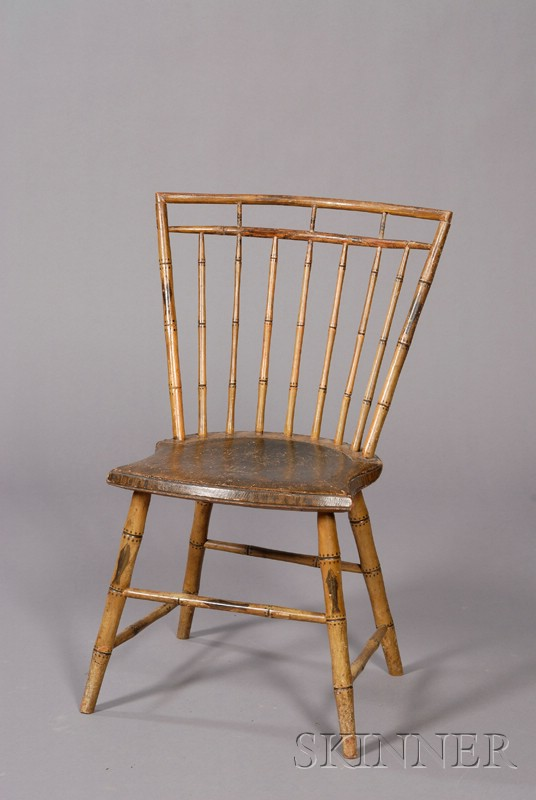 Paint-decorated Bamboo-turned Windsor Side Chair