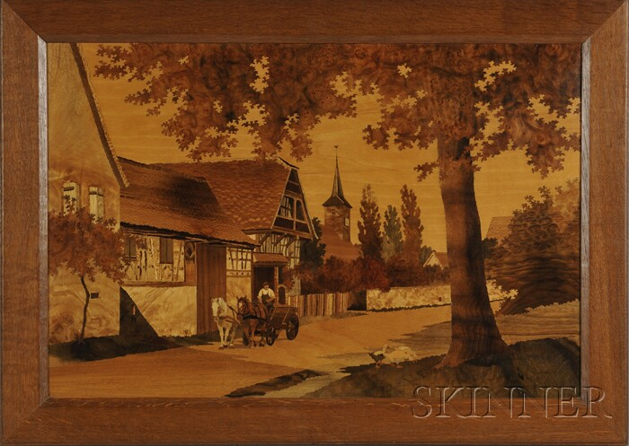 Spindler Marquetry Picture of an Alsatian Village Scene