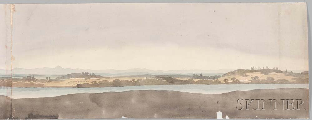 George Heriot (Quebec/England, 1759-1839)      Panoramic View of Boston Harbor and Part of Charlestown with Bunker Hill, June 15, 1815