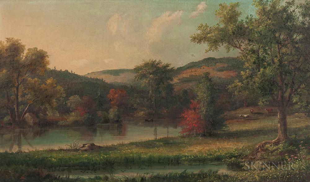 John White Allen Scott (Massachusetts, 1815-1907)       Lakeside Pastoral Scene