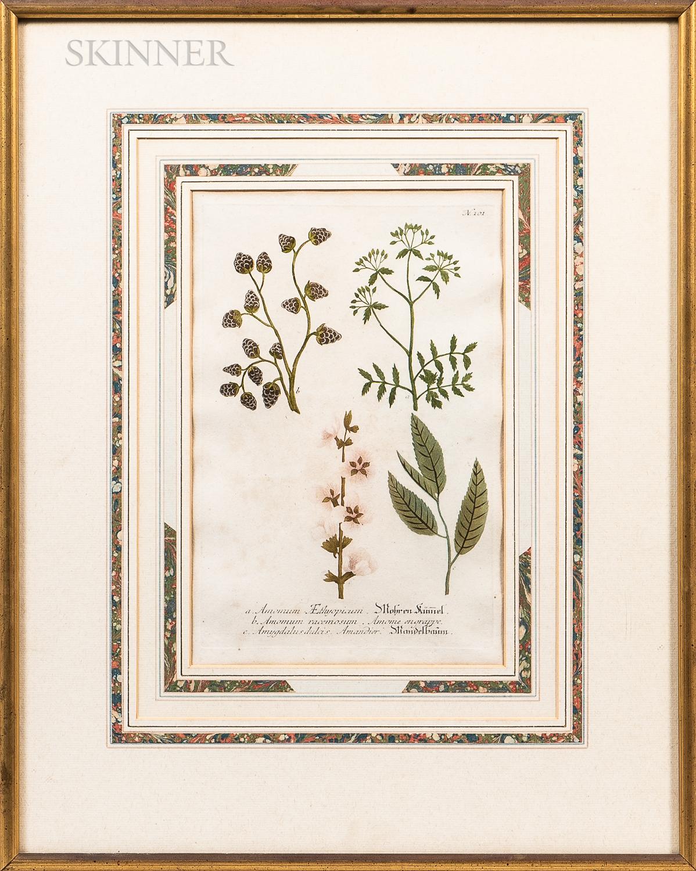 Four Framed Hand-colored Prints:      Richard Houston (Irish, c. 1721-1775) After Philip Mercier (British, 1689-1760), Earth