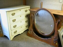 Late Victorian Oak Mirrored Dresser and a White Painted Chest of Drawers.
