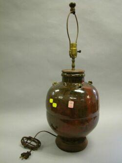 Chinese Sang de Boeuf Drip Glazed Porcelain Jar Table Lamp.