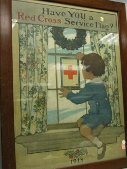 Framed 1918 Jessie Wilcox Smith Illustrated Have You a Red Cross Service Flag? Lithograph Poster.
