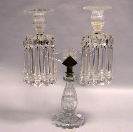 Colorless Cut Crystal Two-Arm Girandole.