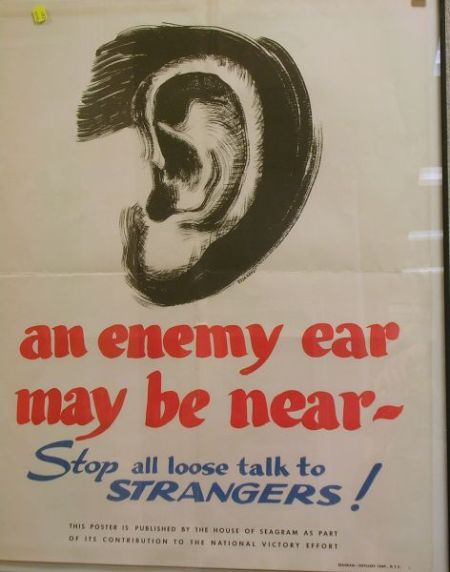 Framed WWII Poster, Published by the House of Seagram.