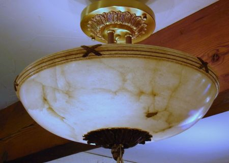 Graduated Pair of Neoclassical-style Hanging Brass-mounted Alabaster Dome Light Shades
