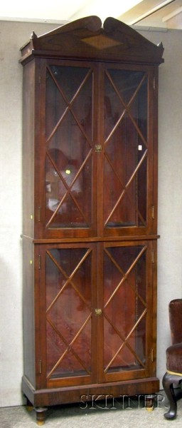 Mahogany and Rosewood Veneer Four-Door Book Cabinet.