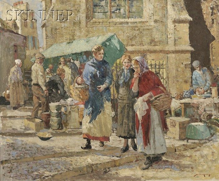 William Lee Hankey (British, 1869-1950)      Market Gossip