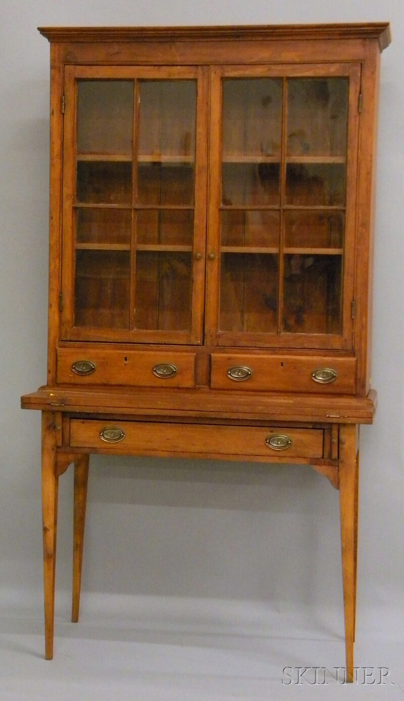 Country Glazed Pine Writing Desk/Bookcase.