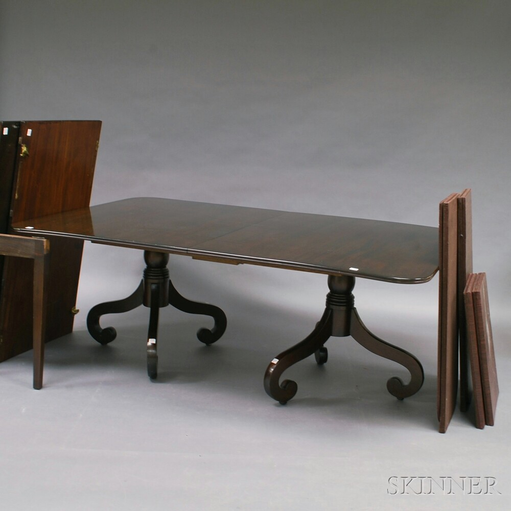 Classical-style Mahogany Double-pedestal Dining Table