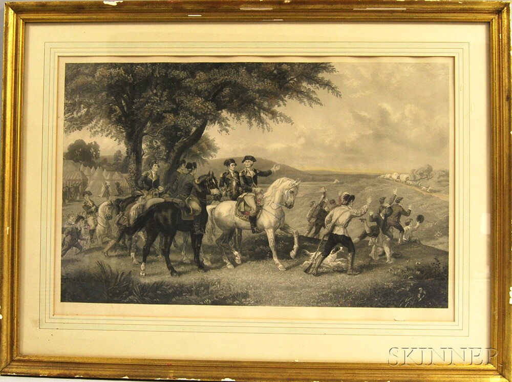 Framed Knoedler & Co. Hand-colored Engraving of Washington