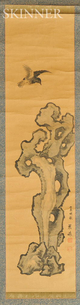 Hanging Scroll Depicting a Bird and Rock