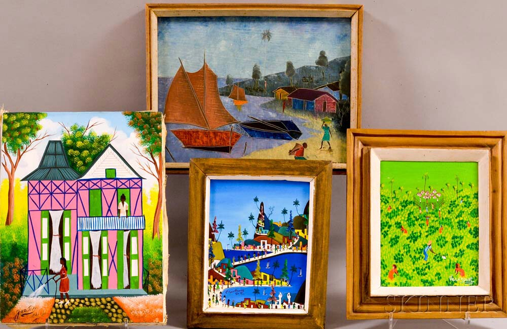 Haitian School, 20th Century      Four Local Scenes, Including Works by F.J. Gautier and C. Soufront