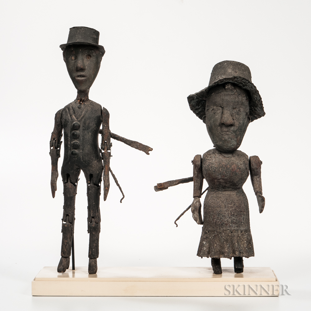 Carved and Painted Pine and Tin Figures