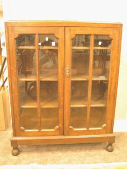 Oak Glazed Two-Door Book Cabinet.