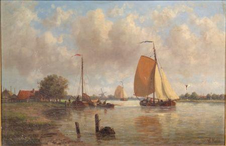 Hendrik Hulk (Dutch, 1842-1937)    Ketches Sailing on a River
