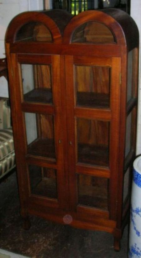 Pair of Modern Asian Double Arched-top Glazed Hardwood Two-Door Display Cabinets