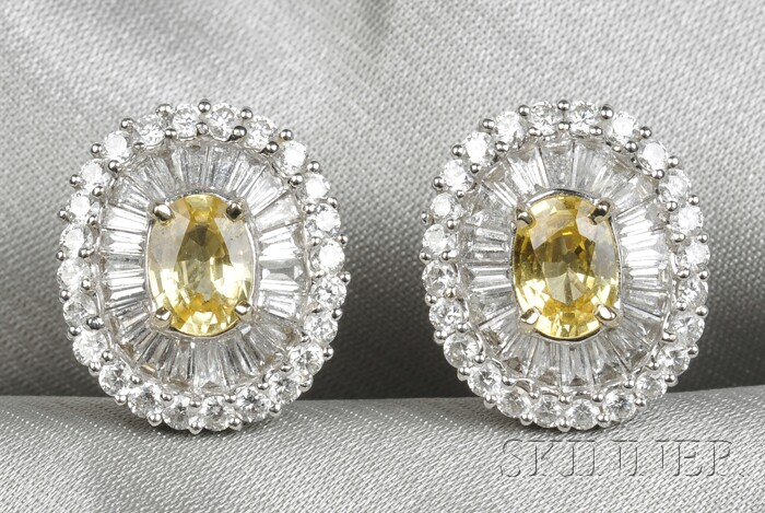 18kt White Gold, Yellow Sapphire, and Diamond Earclips