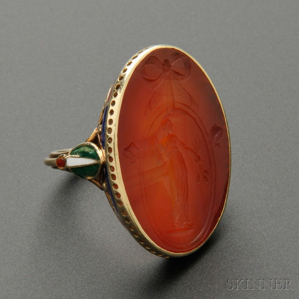 Around The City Diamontrigue Jewelry: Rare Gold, Carnelian Intaglio, And Enamel Ring, Marie