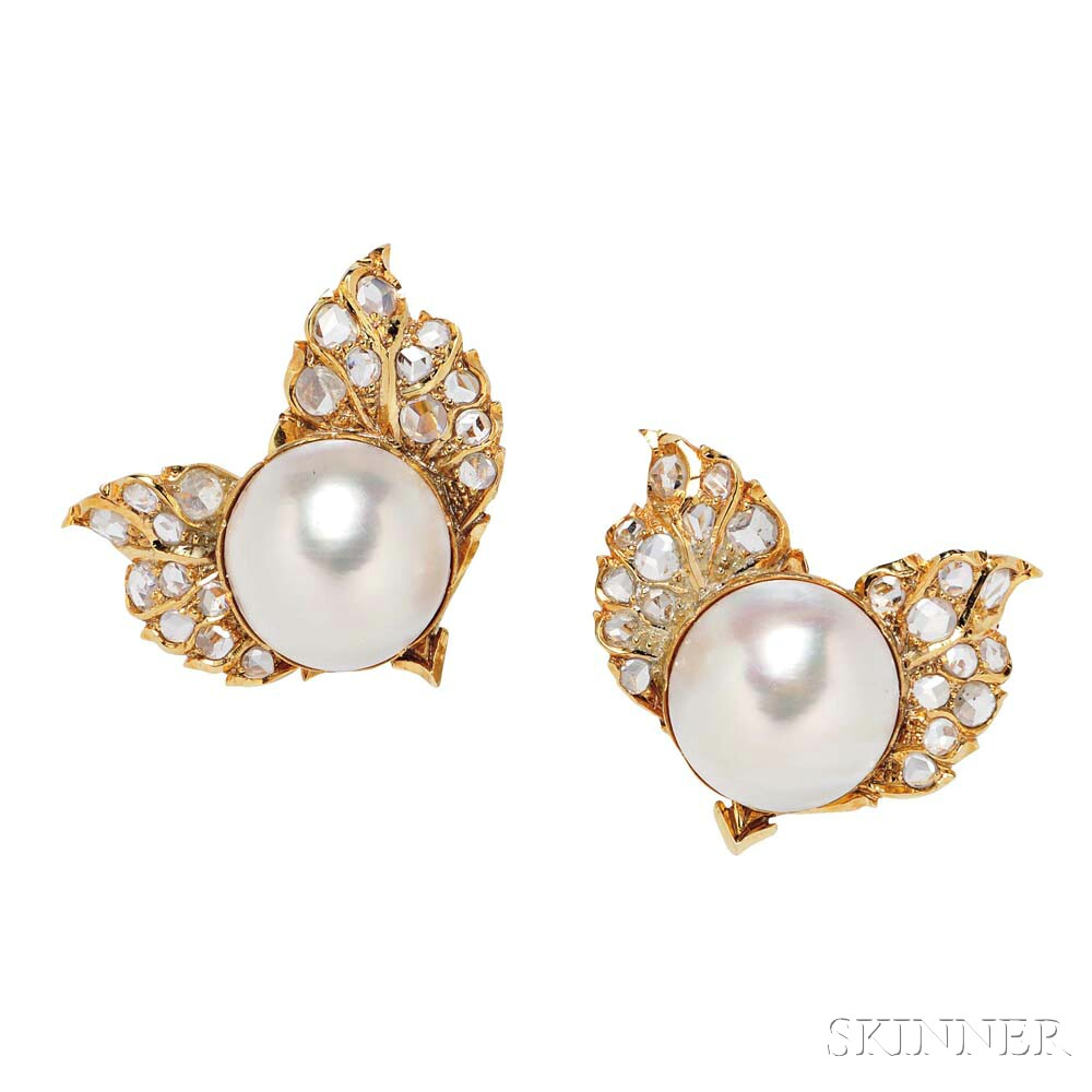 18kt Gold, Mabe Pearl, and Diamond Earrings, Buccellati
