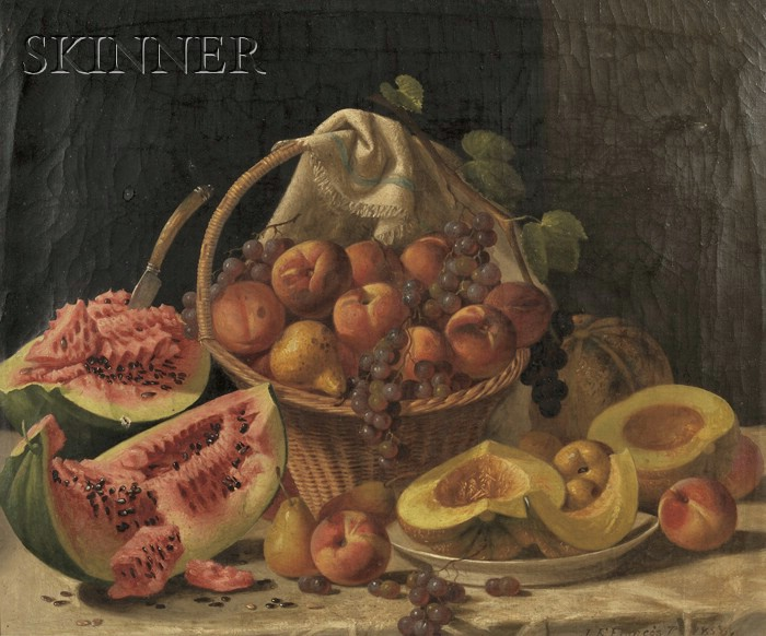 John F. Francis (American, 1808-1886)      Elaborate Still Life with Melons and Fruit on a Marble Slab