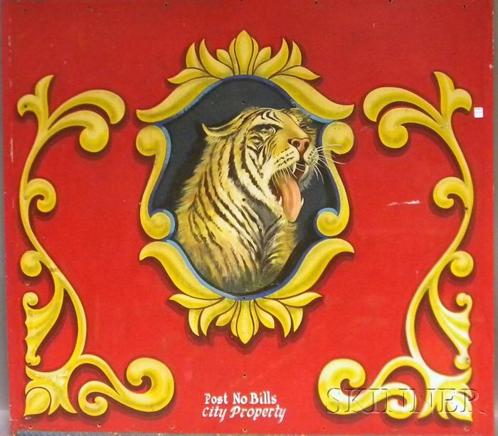 Polychrome Painted Masonite Circus Wagon Panel