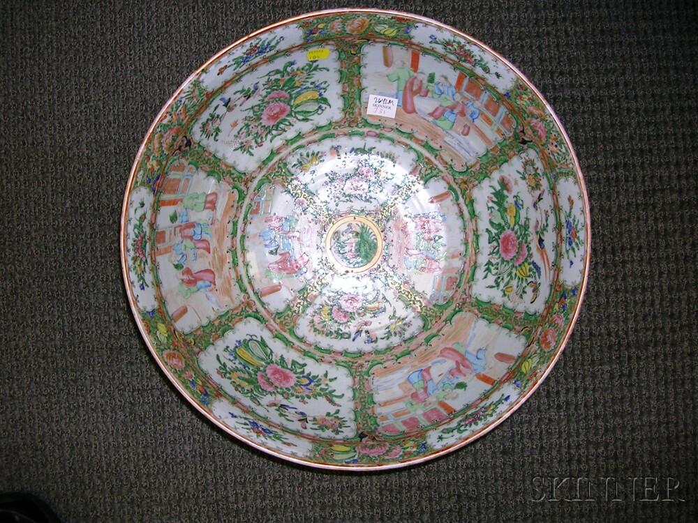Large Chinese Export Porcelain Rose Medallion Pattern Punch Bowl
