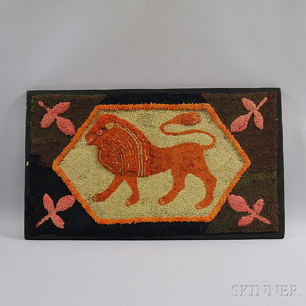 Mounted Figural Hooked Rug of a Lion