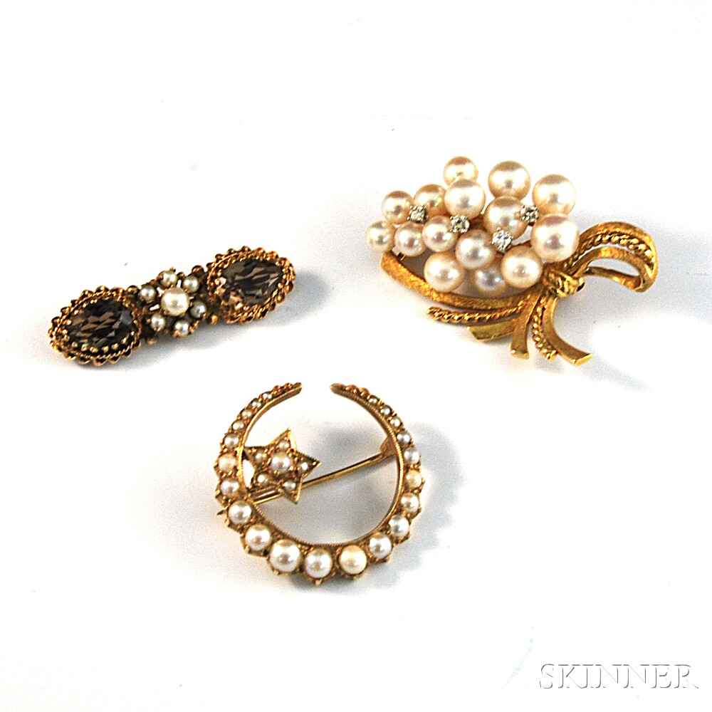 Three Gold and Pearl Brooches